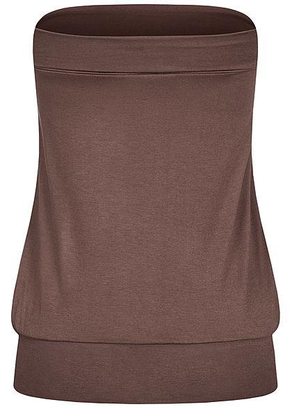 Seventyseven Lifestyle Damen Basic Viskose Bandeau Top breiter Bund braun