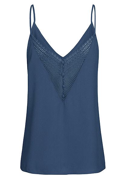 Seventyseven Lifestyle Damen V-Neck Spitzen Top mit Deko Knöpfen hinten navy blau
