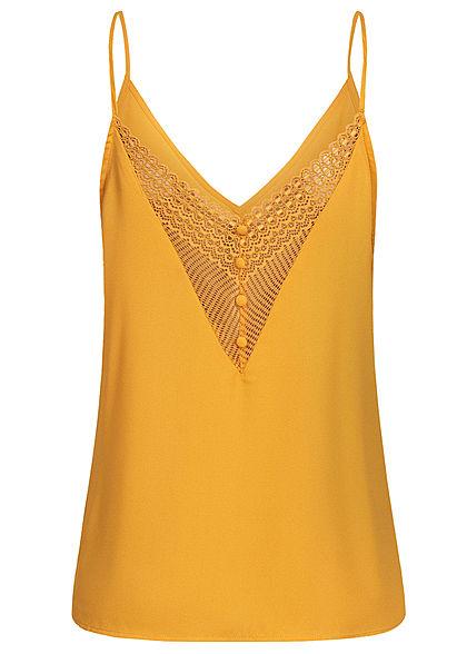 Seventyseven Lifestyle Damen V-Neck Spitzen Top mit Deko Knöpfen hinten gelb