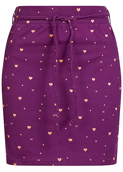 Fresh Made Damen Mini Jersey Rock 2-Pockets inkl. Gürtel Herzen Print grape juice lila - Art.-Nr.: 20073376