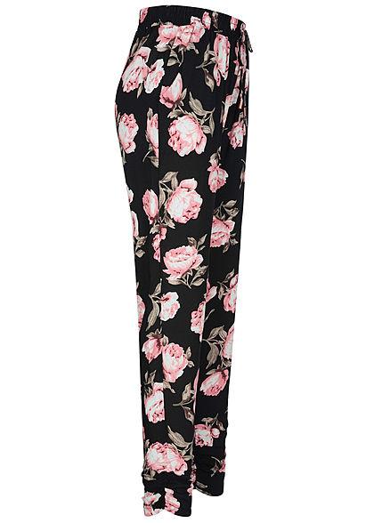 Hailys Damen Viskose Sommer Hose Deko Tunnelzug Rosen Muster schwarz rosa