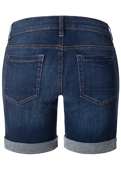 TOM TAILOR Damen Bermuda Jeans Shorts 5-Pockets dunkel blau denim
