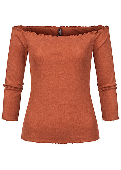 Fresh Made Damen 3/4 Arm Fine Rib Off-Shoulder Longsleeve mit Frilldetails rusty orange - Art.-Nr.: 20094165
