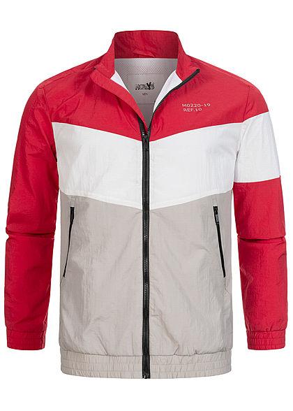 Hailys Herren Colorblock Arrow Trainingsjacke 2-Pockets rot grau weiss