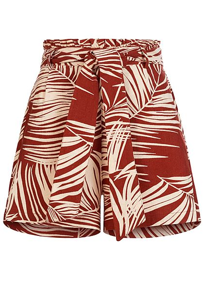 ONLY Damen Paperbag Shorts 2-Pockets Tropical Print burnt henna braun