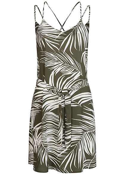 ONLY Damen V-Neck Mini Kleid inkl. Bindegürtel Tropical Print kalamata oliv grün