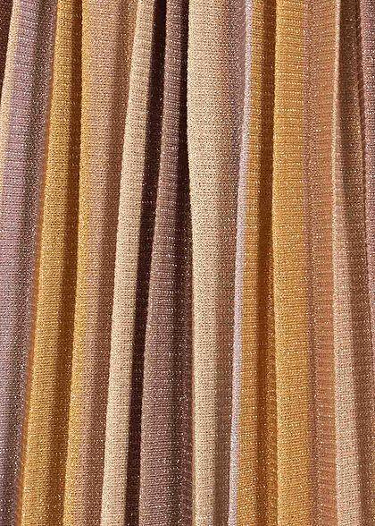 ONLY Damen Lurex Midi Falten Rock Streifen Muster elderberry braun
