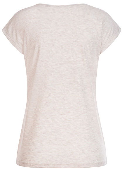 Hailys Damen Melange T-Shirt Yourself Pailletten Leo Print beige melange