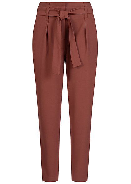 ONLY Damen NOOS Ankle Paper Bag Stoffhose 2-Pockets mit Bindegürtel sable bordeaux rot - Art.-Nr.: 20073695