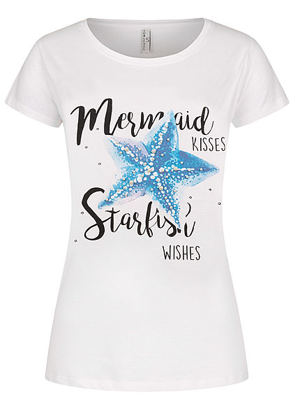 Sublevel Damen T-Shirt Mermaid Starfish Print Deko Perlen weiss - Art.-Nr.: 20073713