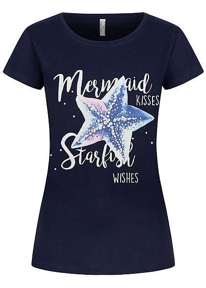 Sublevel Damen T-Shirt Mermaid Starfish Print Deko Perlen dunkel navy blau - Art.-Nr.: 20073715