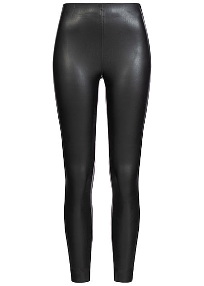 Zabaione Damen High-Waist Kunstleder Leggings schwarz - Art.-Nr.: 20073753