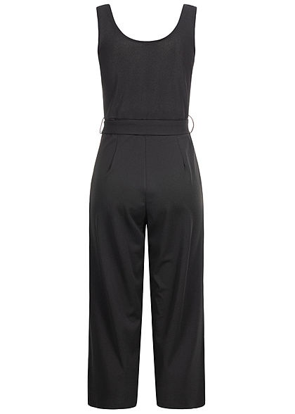 Styleboom Fashion Damen V-Neck Jumpsuit 2-Pockets inkl. Bindegürtel schwarz