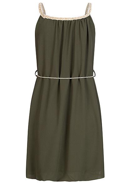 Styleboom Fashion Damen Mini Kleid Flechtträger inkl. Bindegürtel khaki grün