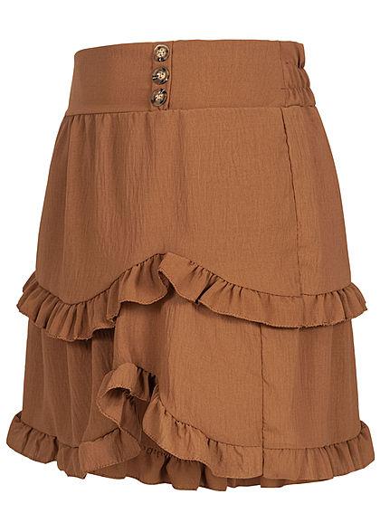 Styleboom Fashion Damen Frill Stufenrock mit Deko Knopfleiste braun
