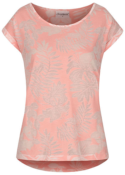 Seventyseven Lifestyle Damen T-Shirt Burnout Tropical Print rosa