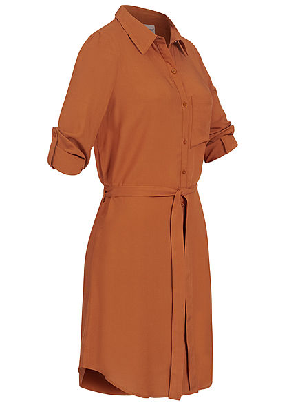 Seventyseven Lifestyle Damen Turn-Up Blusen Kleid inkl. Bindegürtel caramel braun