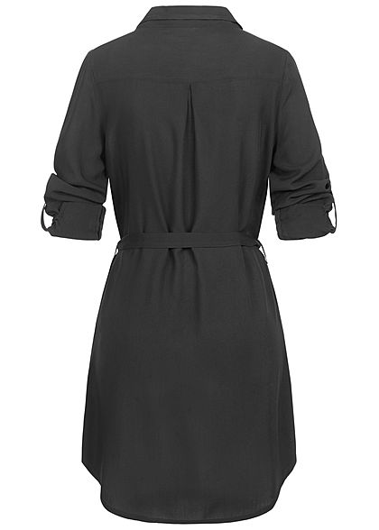 Seventyseven Lifestyle Damen Turn-Up Blusen Kleid inkl. Bindegürtel schwarz