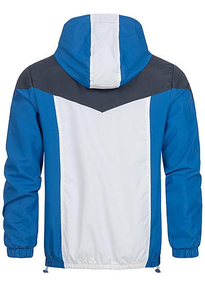 Sublevel Herren Colorblock Trainingsjacke mit Kapuze 2-Pockets lapis blau weiss