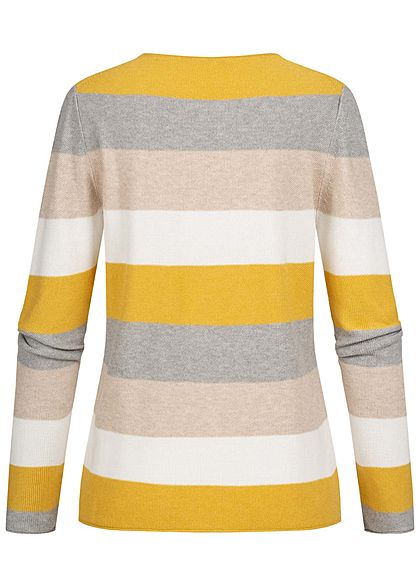 Tom Tailor Damen Colorblock Struktur Sweater Pullover Streifen gelb grau beige