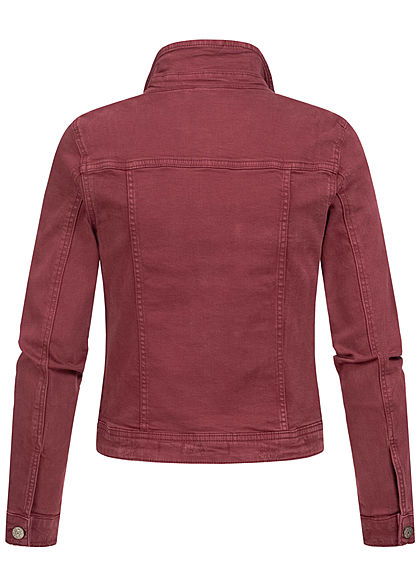 ONLY Damen kurze Jeans Jacke 4-Pockets Knopfleiste port royal bordeaux rot