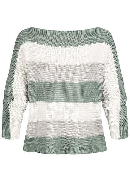 Styleboom Fashion Damen Colorblock Strickpullover Streifen Muster jade grün grau