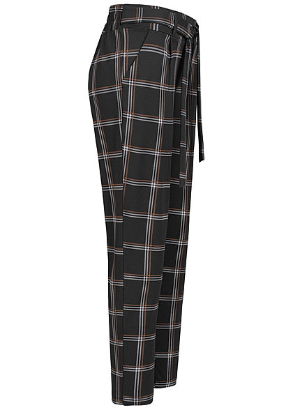 Hailys Damen Stoffhose Karo Muster 2-Pockets Bindedetail vorne toffee braun