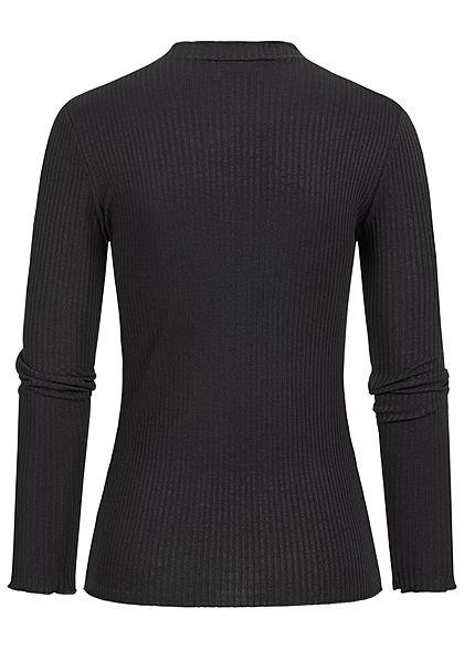 Styleboom Fashion Damen Ribbed Longsleeve Frilldetails schwarz