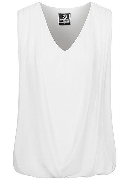 Styleboom Fashion Damen V-Neck Chiffon Top Wasserfall Optik weiss