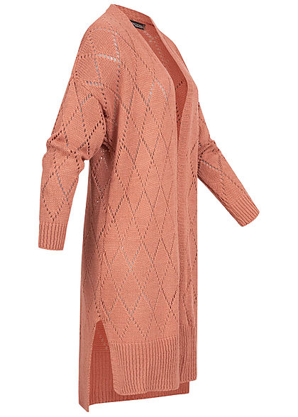 Styleboom Fashion Damen Longform Strickcardigan Rauten Muster wood rosa