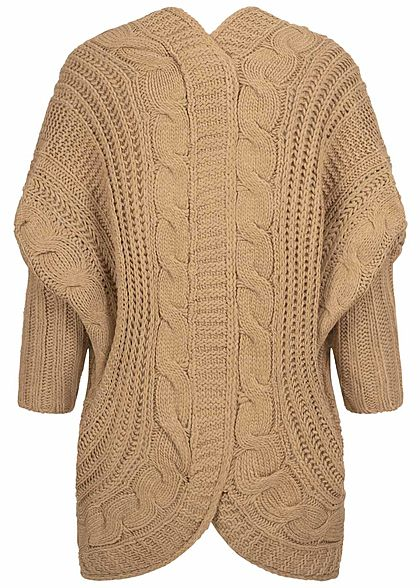 Styleboom Fashion Damen Grobstrick Cardigan Rückenausschnitt camel braun