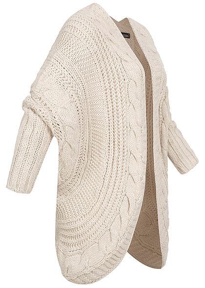 Styleboom Fashion Damen Grobstrick Cardigan Rückenausschnitt beige