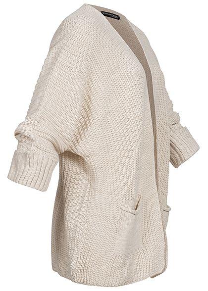 Styleboom Fashion Damen Oversized Strickcardigan 2-Pockets beige