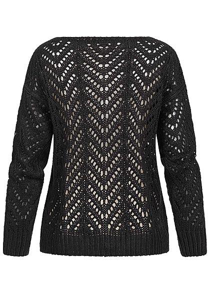 Styleboom Fashion Damen Grobstrickpullover U-Boot Ausschnitt schwarz