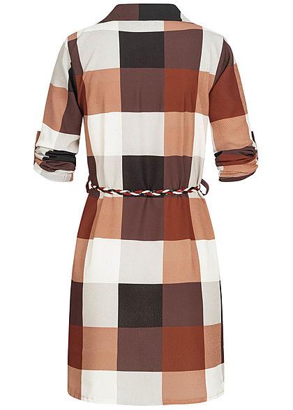 Styleboom Fashion Damen Turn-up Hemdblusenkleid inkl. Flechtgürtel beige rot