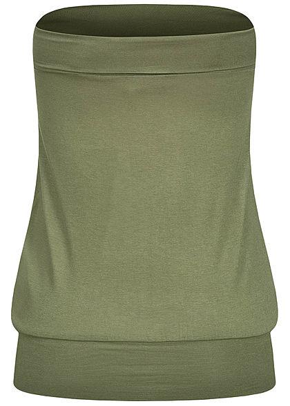 Seventyseven Lifestyle Damen Basic Viskose Bandeau Top breiter Bund oliv grün