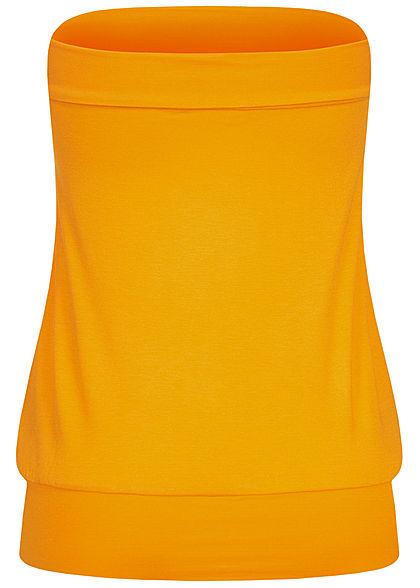 Seventyseven Lifestyle Damen Basic Viskose Bandeau Top breiter Bund mango gelb