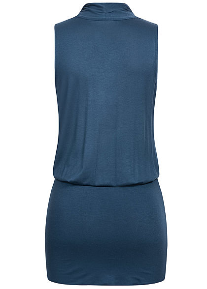 Seventyseven Lifestyle Damen V-Neck Viskose Kleid inkl. Gürtel Wickeloptik navy blau