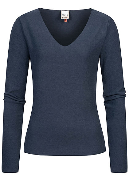 Stitch and Soul Damen Nice Cosy V-Neck Pullover Vokuhila navy blau - Art.-Nr.: 20094175