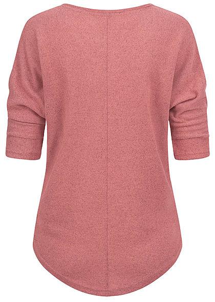 Hailys Damen 3/4 Fledermausarm V-Neck Melange Shirt Vokuhila dusty dunkel rosa
