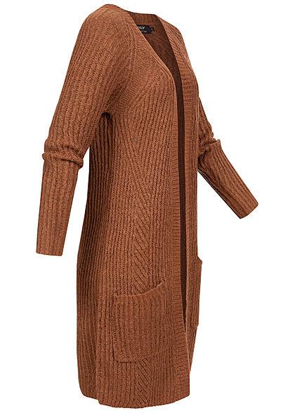 ONLY Damen NOOS Grobstrick Cardigan 2-Pockets rustic braun