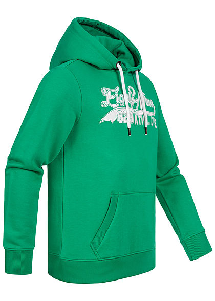 Eight2Nine Herren Sweat Hoodie Kapuze Kängurutasche Logo Frontprint emerald grün weiss