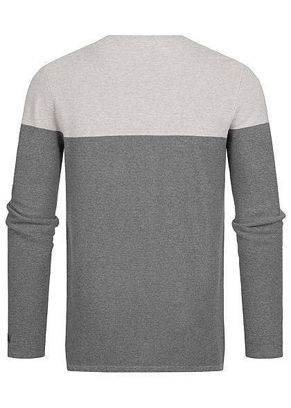 Sublevel Herren Ribbed 2-Tone Pullover Sweater Brusttasche hell grau dunkel grau