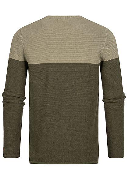 Sublevel Herren Ribbed 2-Tone Pullover Sweater Brusttasche oliv grün
