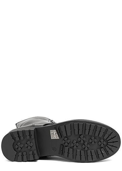 Seventyseven Lifestyle Damen Schuh Kunstleder Boots Schnürstiefelette schwarz