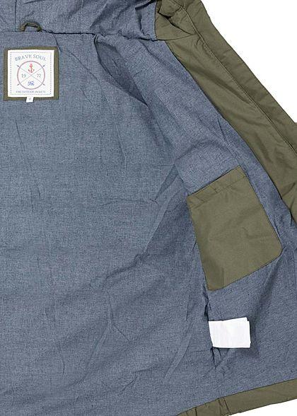 Brave Soul Herren Winter Steppjacke Kapuze 3-Pockets Kontrast Tunnelzug oliv grün