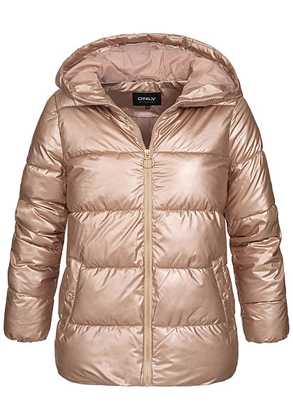 ONLY Damen Metallic Puffer Winter Steppjacke mit Kapuze 2-Pockets frosted almond rosa - Art.-Nr.: 20094363