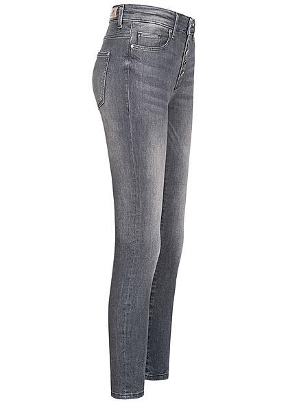 ONLY Damen Ankle Skinny Jeans Hose 5-Pockets High-Waist Knopfleiste grau denim