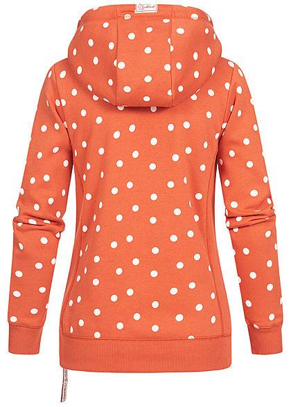 Sublevel Dames Hoodie Allover Stippen Patroon met overlappende Kap mango rood wit