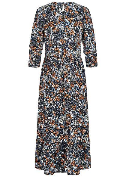 Tom Tailor Damen Midi Viskose Kleid Allover Blumen Muster navy blau multicolor
